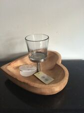 Landon Tyler Wooden Heart And Glass Candle Holder