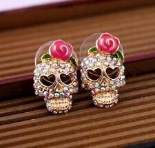 1Pair Women Chic Earrings Rhinestoned Skull Rosette Design Ear Stud Jewelry Gift