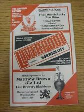22/09/1979 Liverpool v Norwich City  (Light Crease, Writing On Cover)