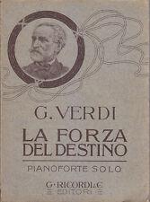 LA FORZA DEL DESTINO Giuseppe Verdi - PIANOFORTE e testo - Ricordi 1911