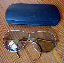 Vintage FOLDING AVIATOR GLASSES with METAL CASE - 1940's - WWII WORLD WAR TWO