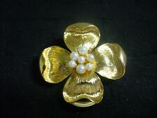 Vintage Napier Textured Goldtone Metal Faux Pearl Dogwood Blossom Brooch Pin