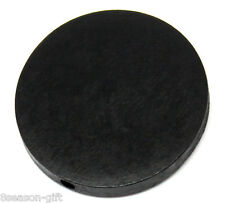 "30PCs Wood Spacer Beads Flat Round Black 30mm(1 1/8"") Dia"