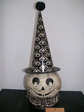 "NWT 11.5"" Black & White GHOST PUMPKIN HEAD in Witch Hat Halloween Decoration"