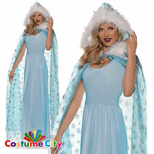 Adults Womens Blue Snow Queen Snowflake Cape Fancy Dress Costume Accessory