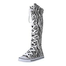 West Blvd Womens Sneaker Knee High Lace Up Boots Zebra 7.5 B(M) US