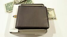 Authentic FOSSIL men's bifold Genuine bi-color Gray Leather Wallet NIB