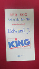 BOSTON RED SOX1978 EDWARD J. KING GOVERNOR SCHEDULE