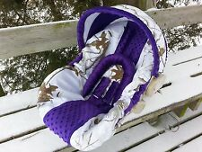 Camo Infant Car Seat Cover, Realtree Snow fabric and Purple Minky