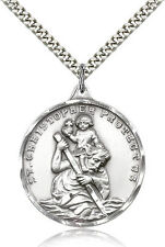 "Large Saint Christopher Medal For Men 925 Sterling Silver Necklace 24"" Chain"
