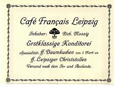 Richard Mossig Cafe Francais Leipzig Konditorei Christstollen Histor.Annonce1914
