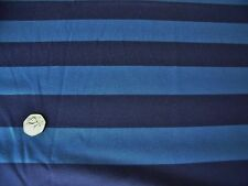 COTTON JERSEY WIDE STRIPE PRINT-PEACOCK/NAVY -DRESS FABRIC(FREEE P&P UK ONLY)