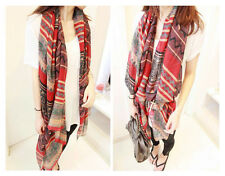 Oversized Scarf Wrap Shawl Plaid Cozy Checked Pashmina Women Cotton Voile Print