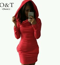 2016 Two Style Hoodie Above the knee Mini Dress with Pockets XL