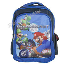"16"" Backpack School Book Bag Blue - Super Mario Bros Kart Wii LUIGI YOSHI green"
