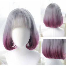 Bob Wig Short Straight Party Hair Lolita Gray Rose Red Ombre Neat Bang Style Wig