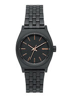 **BRAND NEW** NIXON WATCH THE SMALL TIME TELLER ALL BLACK ROSE GOLD A399957 NIB!