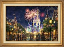 "Thomas Kinkade Disney World® MAIN STREET 28"" x 42"" LE S/N Canvas (Gold Frame)"