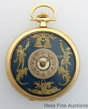 Outstanding Antique 14k Gold Greco Roman Dial Waltham Mens Pocket Watch