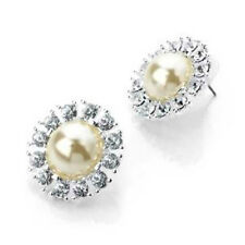 Silver Tone Cream White Pearl Crystal Round Flower Stud Earrings ER11354