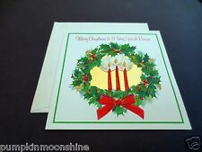 Vintage Unused Hallmark Xmas Greeting Card Gold Foil Accented Holiday Wreath