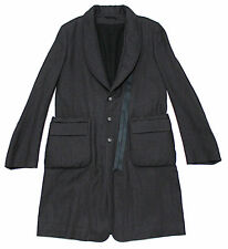 $1,614 Italy ANN DEMEULEMEESTER Avant-Garde Wool-Ramie Trench Jacket Coat Large