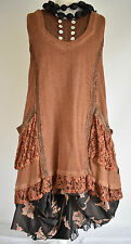 STUNNING SARAH SANTOS ASYMMETRIC 100% COTTON  TUNIC TOP SIZE L/XL   AMBER