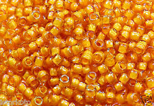 8/0 Round TOHO Japan Glass Seed Beads #950-Jonquil/Burnt Orange Lined 15 grams