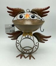 Bird Feeder Owl Unique Rustic Metal Seeds Brown Brand New