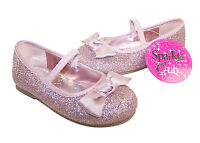 Girls Kids Pink New Glitter Shoes Party Infants Size Bridesmaid Flower Girl