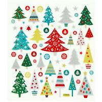 Christmas Trees Colourful Glitter Stickers 15cm Embellishments Sheet Kids Craft