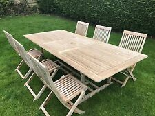 Teak garden / patio furniture - table and 6 chairs. (Table extendable).