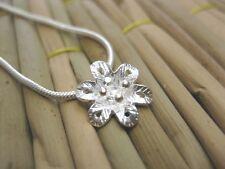 Real Thai Karen 925 Sterling Silver Blossom Flower Pendant Vermeil