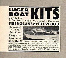 1959 Print Ad Luger Boat Kits Aluminum or Plywood Minneapolis,MN