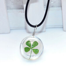 Dried Four-leaf Clover Flowers Round Glass Pendant Leather Chain Lucky Necklace