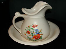 McCOY USA Pitcher and Bowl #7515 White Colorful Spring Flowers