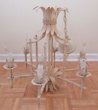 "Faux Bamboo Tole Italian 24"" Pagoda Chandelier Vintage 6 Arm Hollywood Regency"