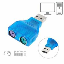 New Mini Slim USB 2.0 A Male to 2Port PS/2 PS2 Mouse Keyboard Adapter Dongle