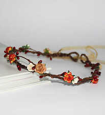 Autumn Burnt Orange Red Berries Floral Crown Halo Flower Girl Wedding Garland