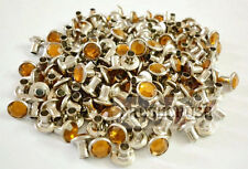 40Set 7mm Yellow Gold Synthetic Crystal Rhinestone Diamond RIVETS Leather RV078