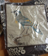 """Pottery Barn Scientific Bird Pillow Cover Blue 20"""" Aviary Embroidered New"""