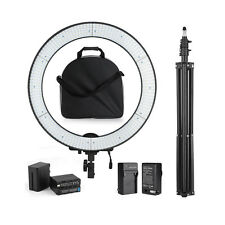 600PCS LED Portable Video Photography Ring Light Kit +Stand +F970 Battery +Bag