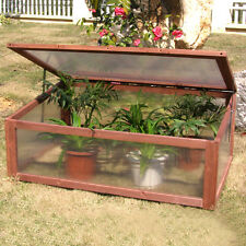Garden Portable Wooden Green House Cold Frame Raised Plants Bed Protection New