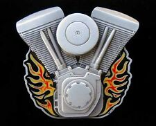HARLEY V-TWIN WITH FLAMES BELT BUCKLE BUCKLES!
