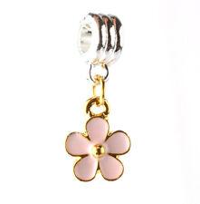 flower 925 silver charm beads pendant fit European bracelet necklace chain A#125