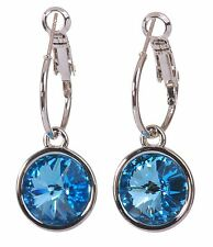 Swarovski Elements Crystal Round Drop Pierced Earrings Aquamarine Rhodium 7283z