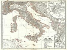 GEOGRAPHY MAP ILLUSTRATED ANTIQUE SPRUNER ITALY BATTLE ACTIUM ART PRINT BB4483A