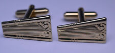 VINTAGE 1950s GOLD PLATED ART DECO STYLE CUFFLINKS WITH UNUSUAL SHAPE