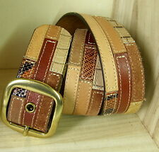 FOSSIL Patchwork Leather Belt- Womens Size M -Earth Colors-Square Brass Buckle