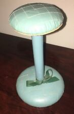 "Vintage Ladies Hat Stand Wig 9"" Tall Aqua Blue"